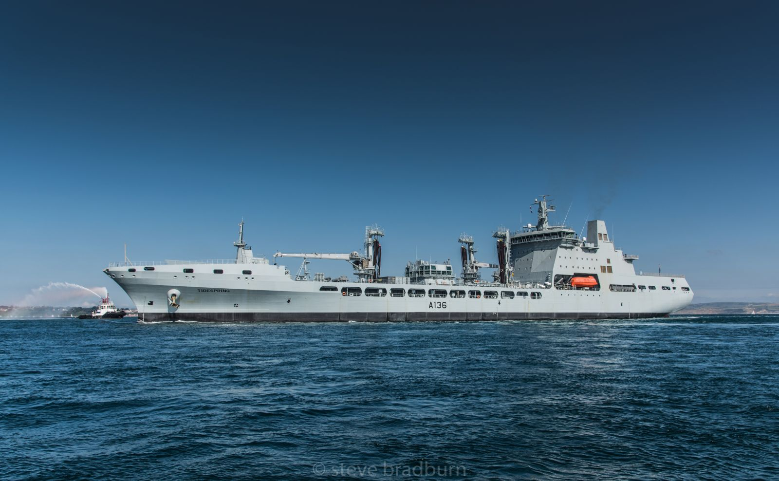 The Royal Fleet Auxiliary's newest vessel, Tidespring, makes her inaugural call to Portland Port